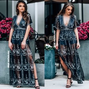 Lace Shell Charcoal Maxi Romper